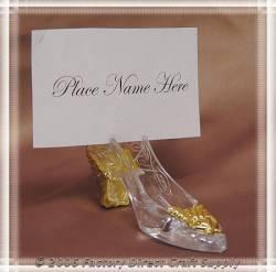 48~ Gold Cinderella  Slipper Wedding Place Card Holder