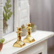Miniature Gold Brass Candlestick Set
