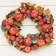 Fall Artificial Pumpkin and Berry Wreath