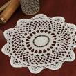 Round Gold Accented Cream Crocheted Doily