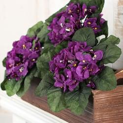 Trio of Purple Ruffled Artificial African Violet Bushes