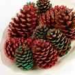 Red and Green Glitter Tipped Pinecones