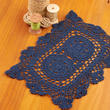 Navy Blue Rectangular Crocheted Doily