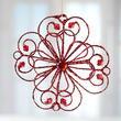 Red Glittered Wire Flower Ornament
