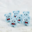 Miniature Baby Blue Flocked Teddy Bears