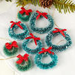 Miniature Frosted Green Bottle Brush Wreaths