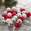 Miniature Red and Silver Christmas Ball Ornaments