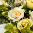 Cream and Green Artificial Rose and Gladiolus Half Bush