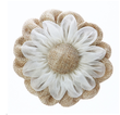 Rustic Burlap Flower with Elastic Band