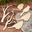 Unfinished Wood Branch and Bird Cutouts