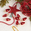 Miniature Red Christmas Tree Decoration Set