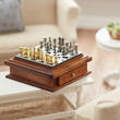 Dollhouse Miniature Walnut Chess Board with Drawer