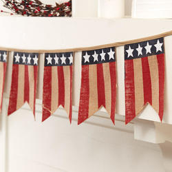 Americana Burlap Pennant Banner Garland