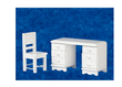 Dollhouse Miniature White Desk and Chair Set