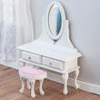 Dollhouse Miniature White Vanity and Stool