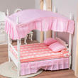 Dollhouse Miniature White with Pink Double Canopy Bed