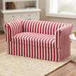 Dollhouse Miniature Red and White Striped Loveseat