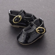Tallina's Black Scalloped Buckle Doll Shoes