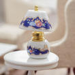 Dollhouse Miniature Blue Floral Brass China Lamp