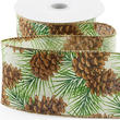 Winter Pinecone Wired Ribbon