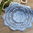 Light Blue Round Crocheted Doily