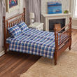 Dollhouse Miniature Walnut Double Bed With Linens