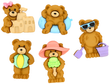 Dress It Up Summer Bears Buttons