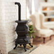 Dollhouse Miniature Black Pot Belly Stove