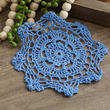 Denim Blue Round Crocheted Doily