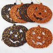 Black and Orange Glitter Jack O' Lantern Ornaments