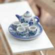 Miniature Ceramic Blue Floral Painted Tea Set