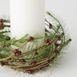 Burgundy Pip Berry and Pine Candle Ring