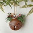 Rusty Tin Jingle Bell and Pinecone Ornament