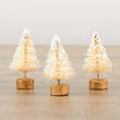 Miniature Frosted Cream Bottle Brush Trees