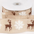 Christmas Burlap Snowflake and Reindeer Ribbon