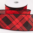 Red and Black Plaid Wired Ribbon
