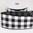 Black and White Buffalo Check Wired Ribbon