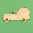 Unfinished Wooden Truck With Pumpkins Cutout