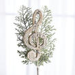 Glittered Artificial Pine Spray with Music Note