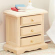 Dollhouse Miniature 3 Drawer Unfinished Nightstand