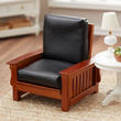 Dollhouse Miniature Walnut and Black Leather Chair