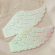 Iridescent White Embossed Angel Wings