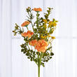 Artificial Marigold and Flocked Foliage Spray