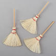 Miniature Natural Straw Brooms - True Vintage