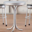 Dollhouse Miniature Silver 1950s Tall Round Cafe Table