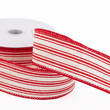 Cream Linen Red Ticking Stripes Ribbon