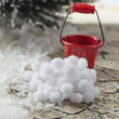 Miniature Red Metal Pail and Snowball Set