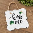 """Kiss Me"" Shamrock Tin Sign"