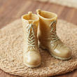 1:6 Scale Miniature Tan Army or Hunting Boots - Vintage Find