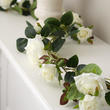 Artificial White Rose and Leaves Garland